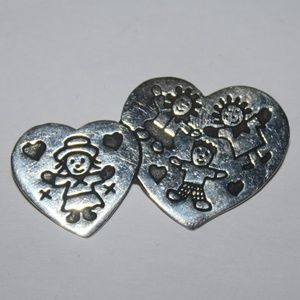 Sterling silver .925 Heart and children brooch